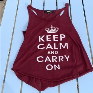 Tops - Brand new Keep calm and carry on burgundy tank! ❤️